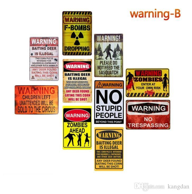 Warning NO trespassing zombies tin signs Vintage wall decor metal painting poster dangerous zone warning board wall poster plates