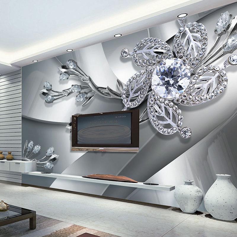 Custom Any Size 3d Wall Mural Wallpaper Diamond Flower Patterns