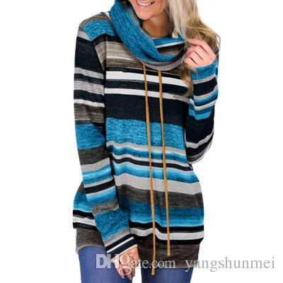 613c87e2f4f 2019 High Neck Sweater Female Spring And Autumn Long Sleeve Sweater 2019 Striped  Multicolor Casual Pullover Lace Knit Sweater Coat From Yangshunmei