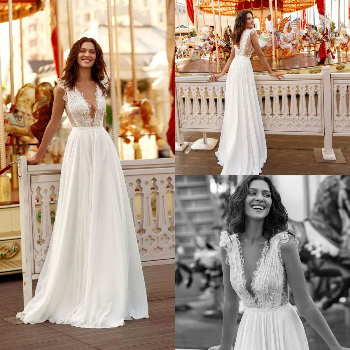 Discount Liz Martinez 2018 Beach Wedding Dresses Sweep Train Lace V Neck  Backless A Line Chiffon Skirts Bohemian Wedding Dress Vestidos De Noiva  Cheap Plus ... e3b86e48a