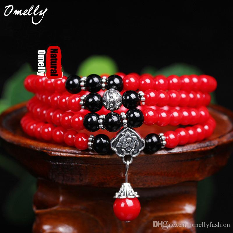 Red Coral Stone Strand Bracelets Round 6mm Size Beads Classic Jewelry for Women Boho Style Summer Lady Girl Wholesale Jewelry Bracelet
