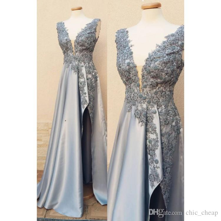 Silver Lace Beaded 2019 African Evening Dresses Sheer Neck High Split Prom Dresses Sexy Cheap Formal Party Bridesmaid Pageant Gowns ZJ154