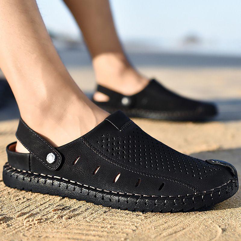 93ae51f1f Compre Sandalias Negras Hombre Zuecos De Verano Talla Grande 45 46 Costura  Slip On Microfibra Sandalias De Playa Suela Robusta Zapatos Para Caminar  Para ...