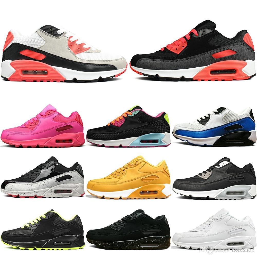 9f16570910ab48 2019 2019 90 Men Women Running Shoes Triple Black White Wheat Core Oreo  Sport Blue Cool Grey Red Men Casual Sports Sneakers US5.5 11 From Holdshop