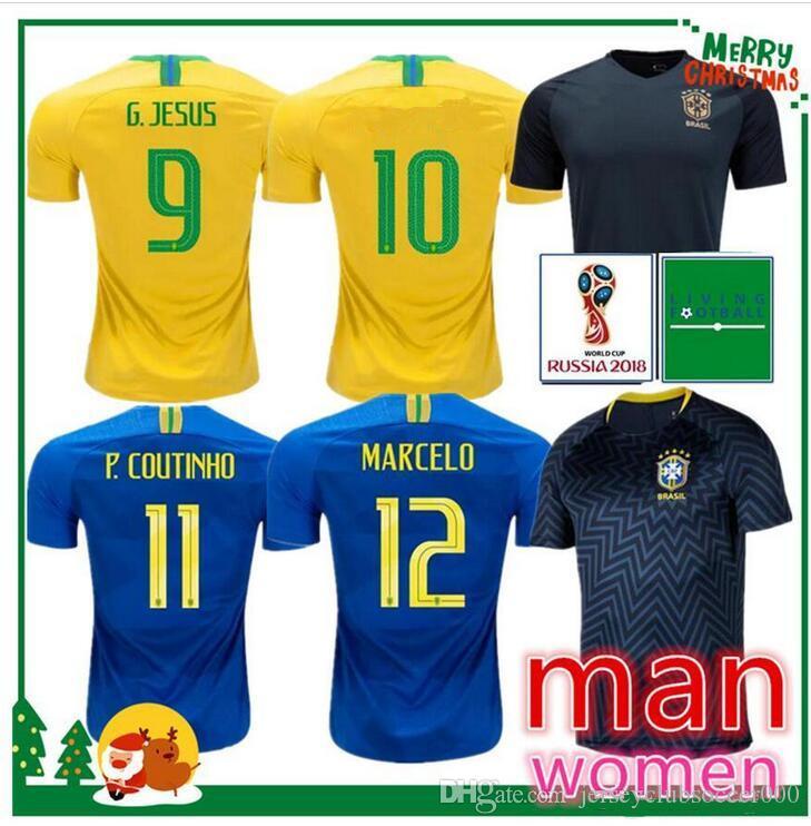 fb273fa359 Compre Camisas De Futebol 2018 Copa Do Mundo Brasils Camisa De Futebol  Seleção Nacional G JESUS P COUTINHO MARCELO FIRMINO 18 19 Camisas De  Futebol ...