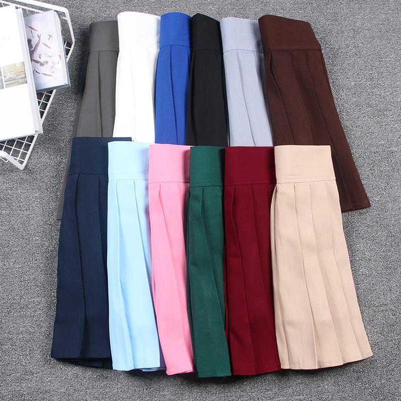 658daa2f6 2019 Japanese Mini Skirt High Waist Pleated Skirts JK Students Solid  Pleated Girl School Uniform Cosplay Skirt Linings Macaron Colors C18122701  From ...
