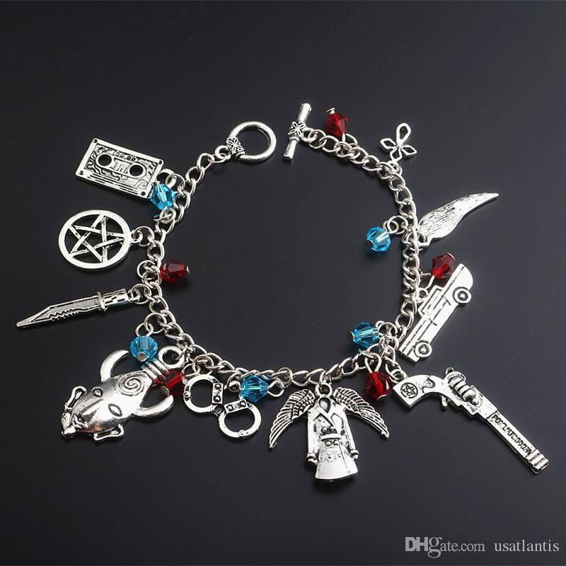 Übernatürliche Armband Ancient Silver Collection Pentagram Handschellen Gun Angel Wings Charm Armband Manschetten Armband Schmuck DROP SHIP 320016