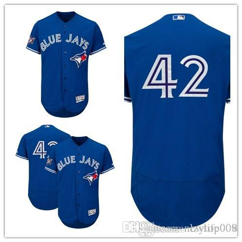 online store 821ca b87b8 Custom 2019 Men s Blue Jays Royal Toronto Jackie Robinson Day Official Cool  Base women kids Jersey