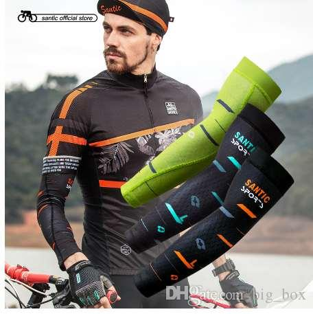 4b8c42e02e Santic Cycling Arm Warmers Anti UV Protective Arm Sleeve Outdoor Sport  Basketball Baseball Arm Sleeves Ciclismo Asia S XL C09080 Protective  Clothing Safety ...