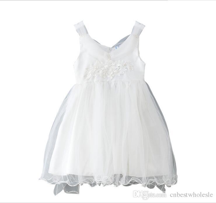 03c9ddf288fe4 Satın Al 2019 Yaz Genç Tül Dantel Elbise Prenses Çiçek Düğün Parti Elbise  Büyük Kız Kolsuz Inci Lüks Elbise, $69.47   DHgate.Com'da