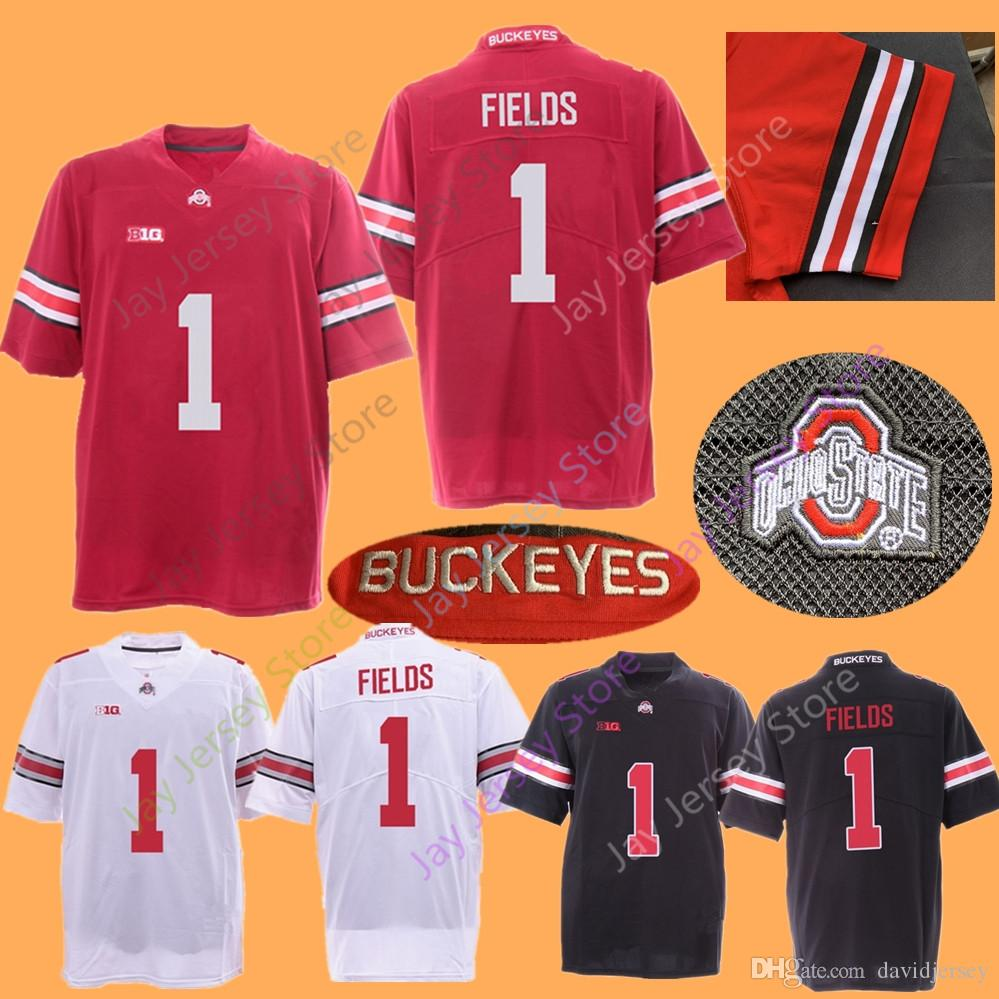 buy popular 31d57 14203 2019 New Justin Fields OSU Ohio State Buckeyes Football Jersey Home Away  Red Black White size S-3XL