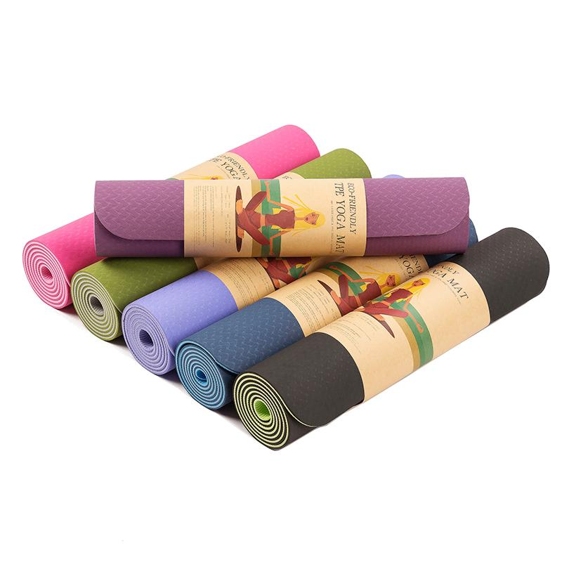 6MM TPE Non-slip Yoga Mats For Fitness Tasteless Brand Pilates Mat 8 Color Gym Exercise Sport Mats Pads with Yoga Bag 183X61cm