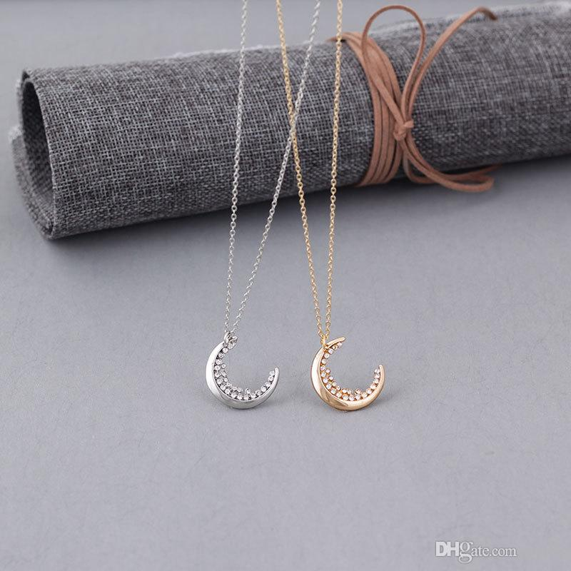 Simple Temperament Diamond Moon Pendant Necklace Fashion Crystal Clavicle Chain Necklaces Jewelry for Wedding Best Gift-A074