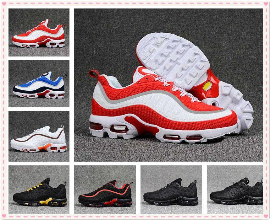 big sale 9088e dbe09 2019 New 98 KPU TN PLUS Men Sports Outdoor sneakers gundam 98s TN GS Black  White Blue Mens Running Shoes Size US 7-12