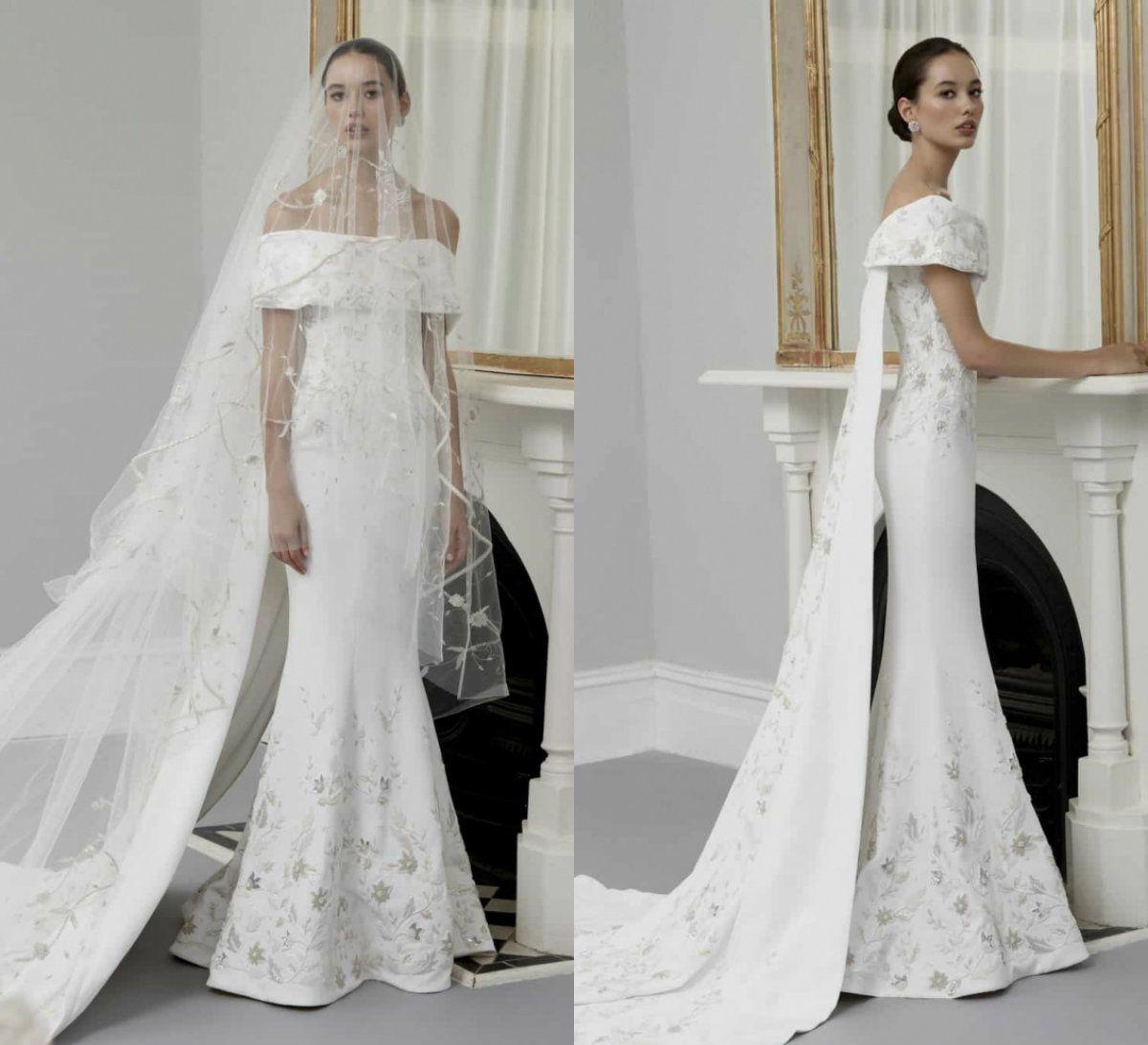 f43958f25811 2019 Mermaid Wedding Dresses Steven Khalil Off The Shoulder Lace Appliques  Sweep Train Country Bridal Gowns Satin Beach Wedding Dress Informal Wedding  ...