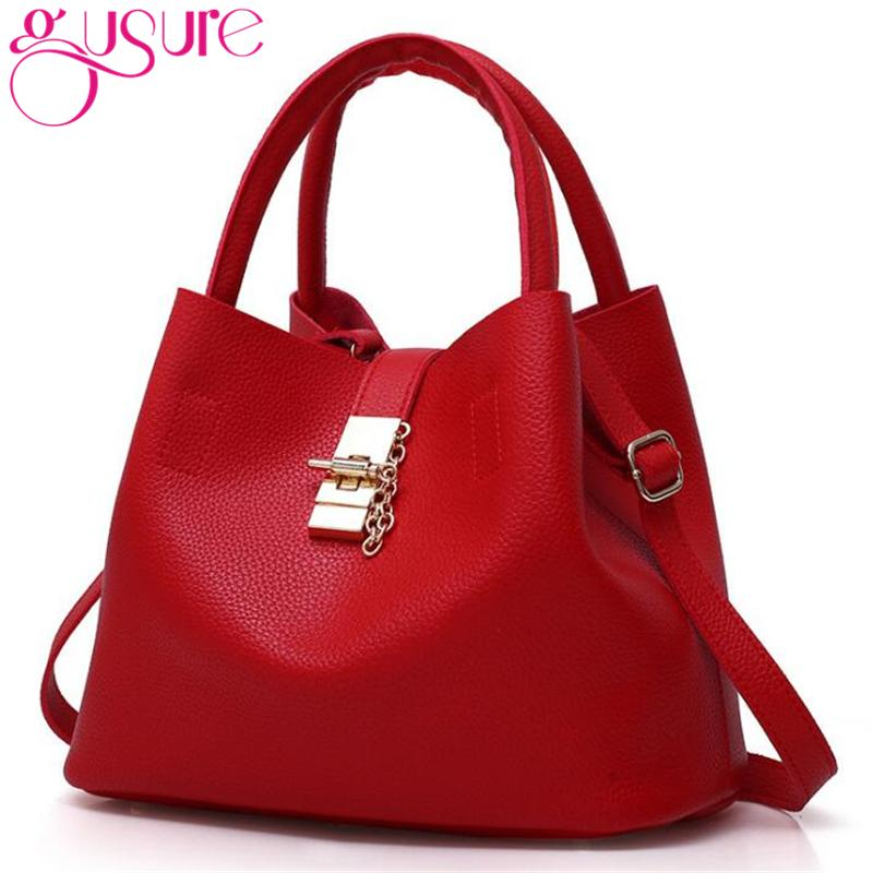 f5b9ac2a4b4b7 Gusure Women Candy Color Bucket Bags Lady Casual Tote With Lock Crossbody Shoulder  Bag Female Handbag Diagonal Cross Buns Bags For Men Satchels From ...