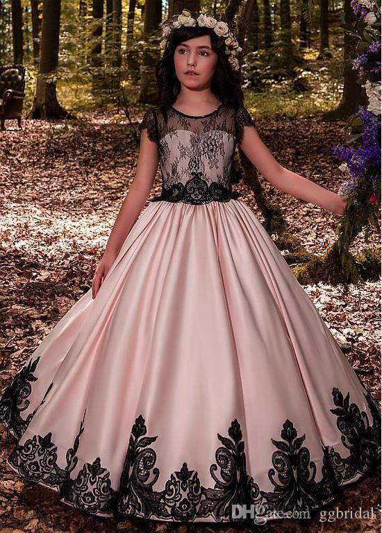 3d4c0b41a18 2019 Pink Princess Flower Girl Dress For Wedding Party Pageant Dress With  Black Lace Flower Girls Gown Girls Dresses For Special Occasions Girls  Dresses ...