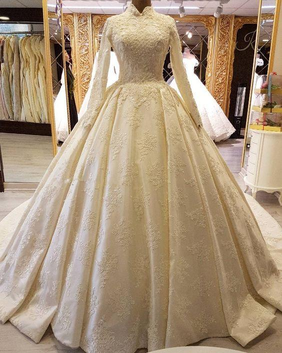 High Collar Satin Muslim Ball Gown Wedding Dresses with Appliques Lace Modest Long Sleeves Wedding Gowns with Pleated Skirt Bridal Dresses