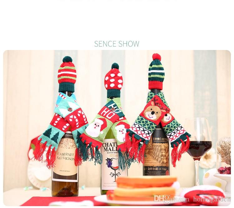 New Christmas Bottle Decoration Christmas Knitted Scarf Hat Set Red Wine Bottle Decoration