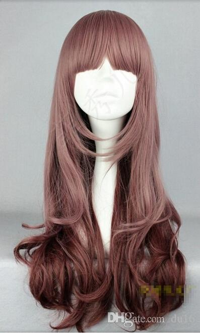 Korean fashion small volume high temperature wire neat bangs long wavy wig Lady Anime Party Peluca