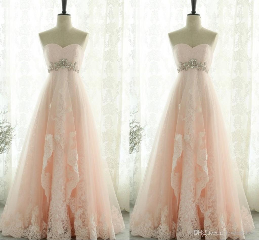 4646cbc84dd1 Blush Pink Tiered Skirt Prom Dresses Party 2019 Strapless Amazon Lace  Beaded Crystal Sashes Open Back Evening Dress Formal Gowns Vestido De  Purple Prom ...
