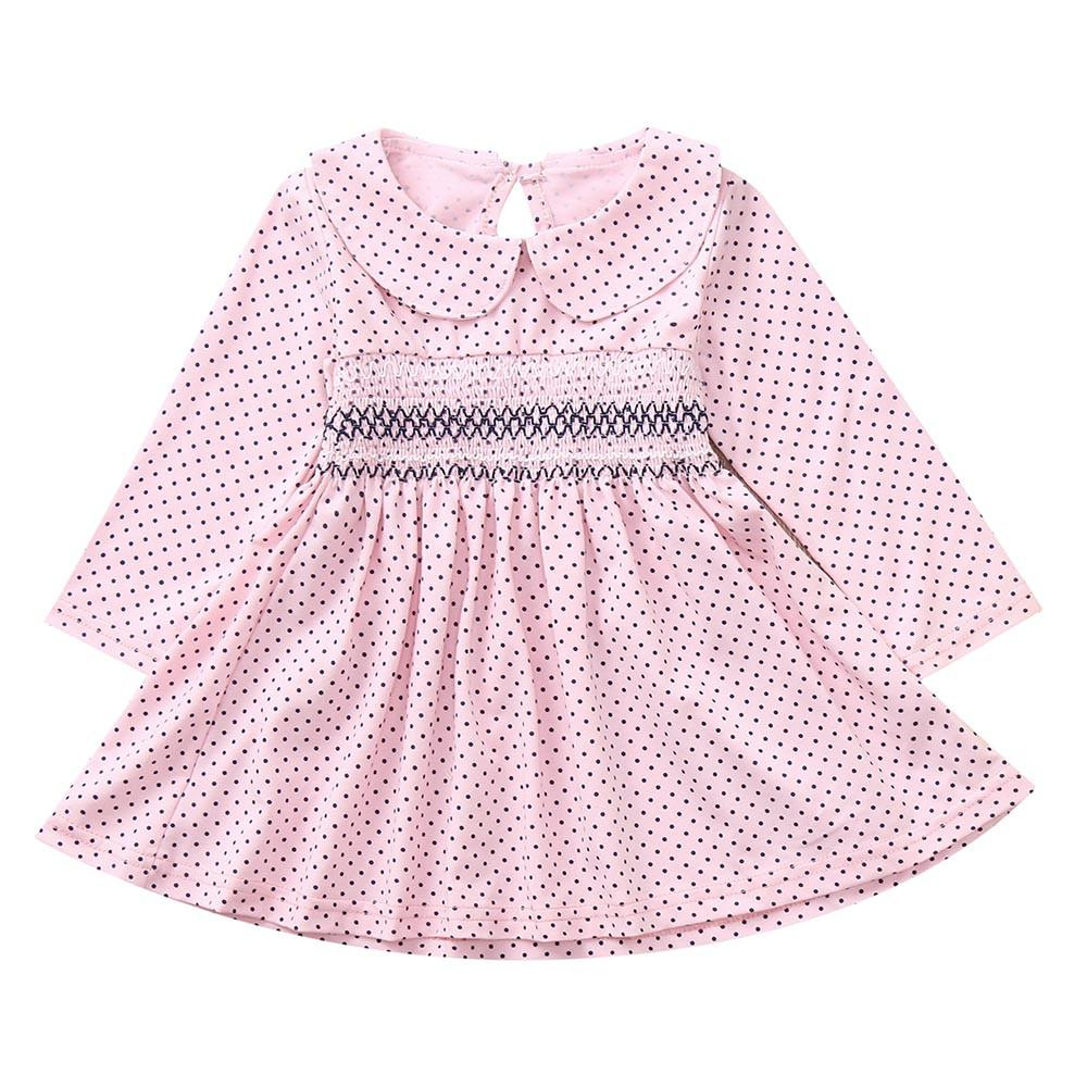 Girls Dress Newborn Baby Girls Long Sleeves Dot Print kids dresses for Princess Toddler Kids Clothing Dress Dropshipping