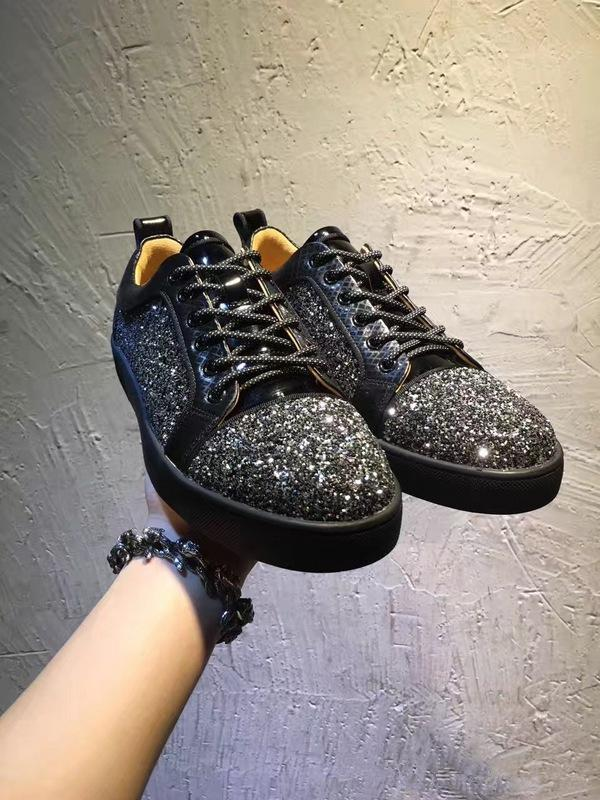 High Quality Shiny Red Rhinestone Women,Men Unisex Sneakers Design Low Top Red Bottom Shoes Casual Walking Flats Junior Men\'s Size 36-46