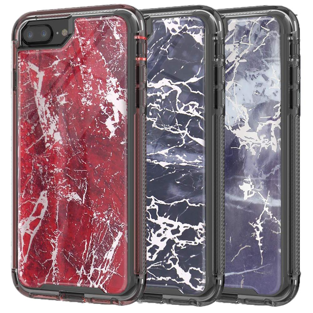 super popular 267c5 4c62c For Iphone 8 plus Case Luxury Marble Dual Layer Protection Shockproof  Bumper Rugged Non-Slip Protective Case for Iphone 8 8plus