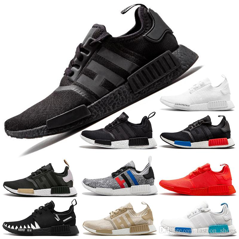 a982608cd Cheap Orignals NMD Runner R1 Sneakers Japan Triple Black White Red PK OG  Tri-Color Men Women Running Shoes Trainer Mens Sports Shoes Size 36-45