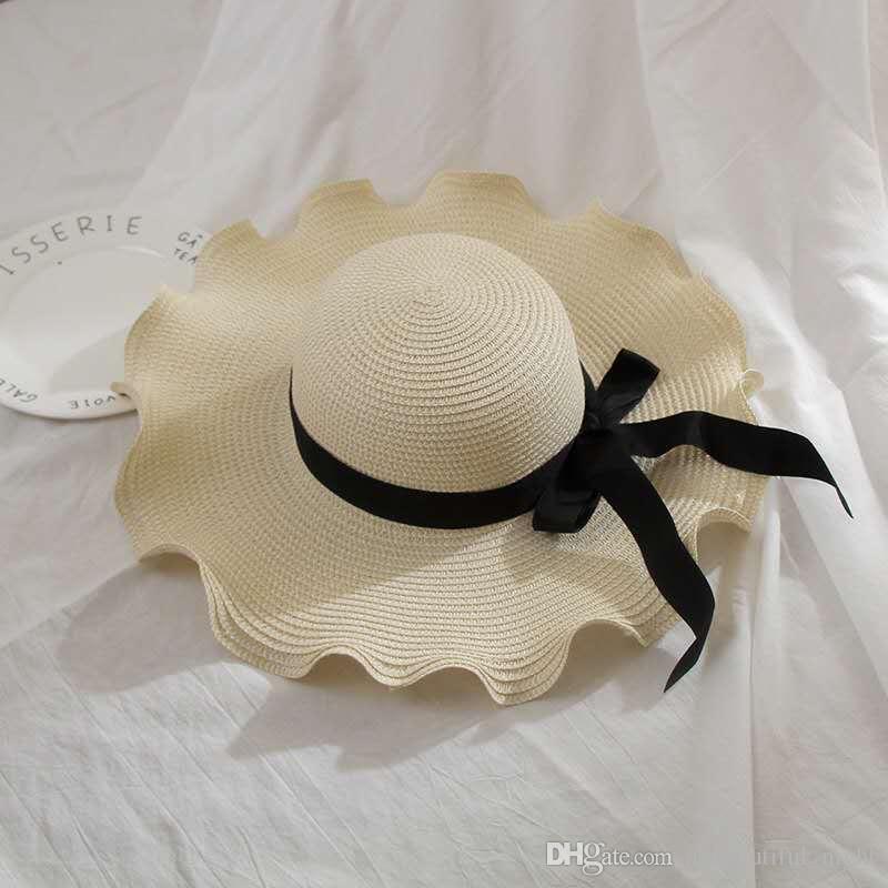 6201329873a2e Fashion Chindren Women Sun Hat Cute Sun Hats Bow Hand Made Women Straw Cap  Beach Big Brim Hat Casual Foldable Glris Summer Cap Church Hats Vintage Hats  From ...