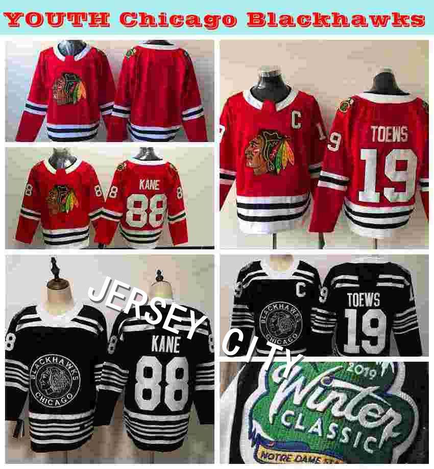 2019 2019 Winter Classic Youth Chicago Blackhawks 19 Jonathan Toews 88  Patrick Kane Kids Hockey Jerseys Winter Classic Black Stitched Shirts From  ... 470de9726