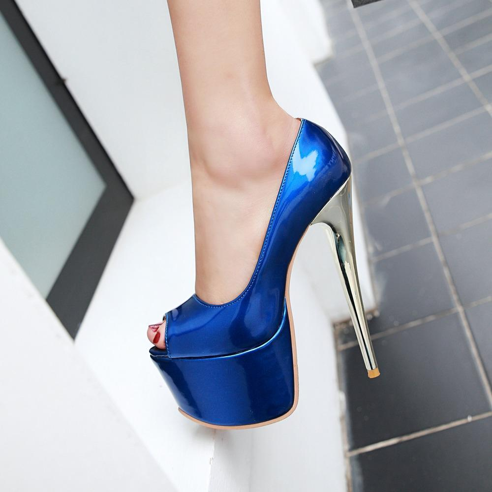 a4b8ab8d29 2018 Summer Shoes Platform Women Extreme High Heels 16cm Blue Red Brown Platform  Stiletto Wedding Shoes Big Size Peep Toe Pumps Black Shoes Nude Shoes From  ...