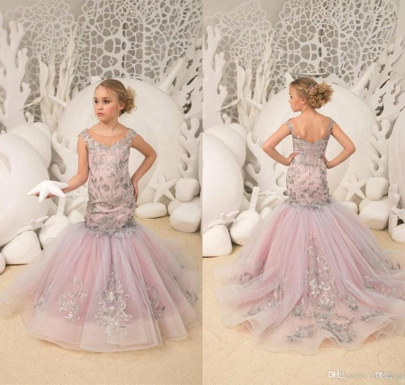 ab02d722179 Mermaid Flower Girls Dresses With Silver Lace Appliques Kids Toddlers  Pageant Gowns For Wedding Party Prom Birthday Wear Flower Girl Dresses For  Wedding ...