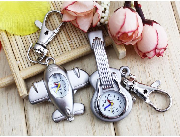 Bronze Men Women Guitar Shape Quartz Pocket Watch plane Retro Key chain Pendant Boys Girls Wonderful Gift Reloj A254