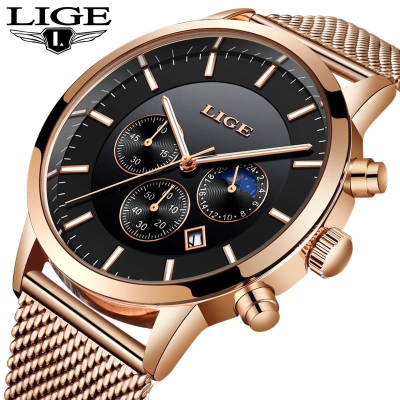 87a0cfafd77 Compre LIGE Mens Relógios Top Marca De Luxo De Malha De Aço De Ouro Strap  Casual Relógio De Quartzo De Negócios De Moda Simples Relógio Homens Relogio  ...