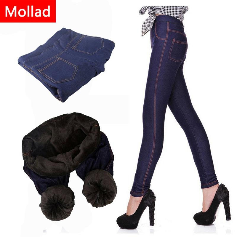 Mollad Winter Women Thicken Warm Pencil Pants Fleeces Inside Faux Denim Trousers 5xl Large Size Leggings Q190510