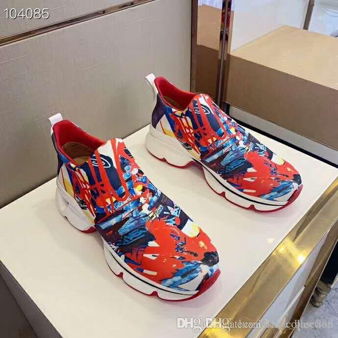 5e002104c25 2019 Latest Multi Colored Red Bottom Sneakers, Classic Space Run Flat With  Red Sole Spikes For Women & Men On The Go, Size 35 45 Geox Shoes Cheap Shoes  For ...