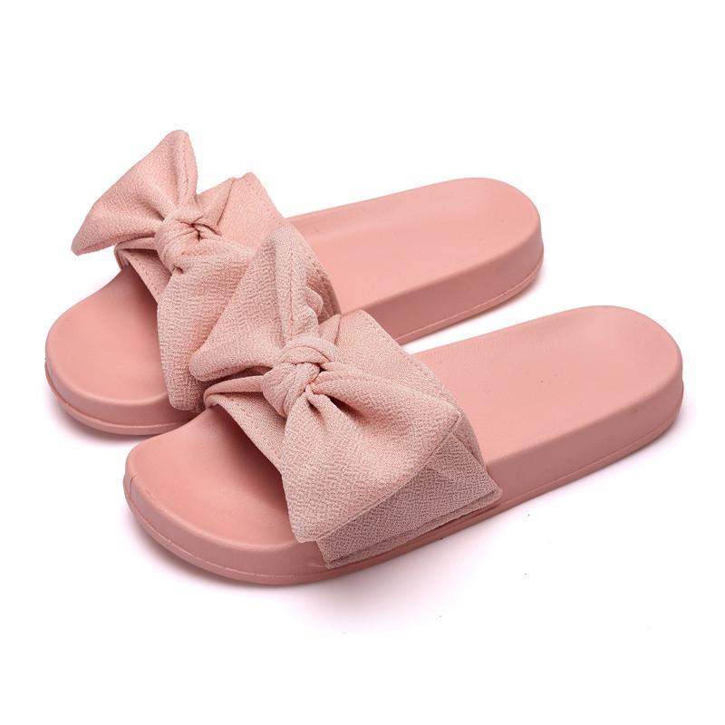 451763a02b365c Novo 2019 Sapatos de Verão Mulher Interior Chinelos Fora De Pano De Tecido  Laço Feminino Sandálias Com Plataforma Moda Senhoras Slides SH021607