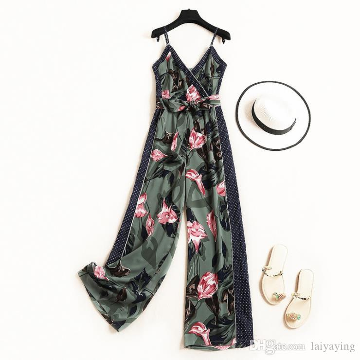 European and American women's clothing 2019 summer new style Condole belt v-neck lace-up Stylish printed jumpsuits