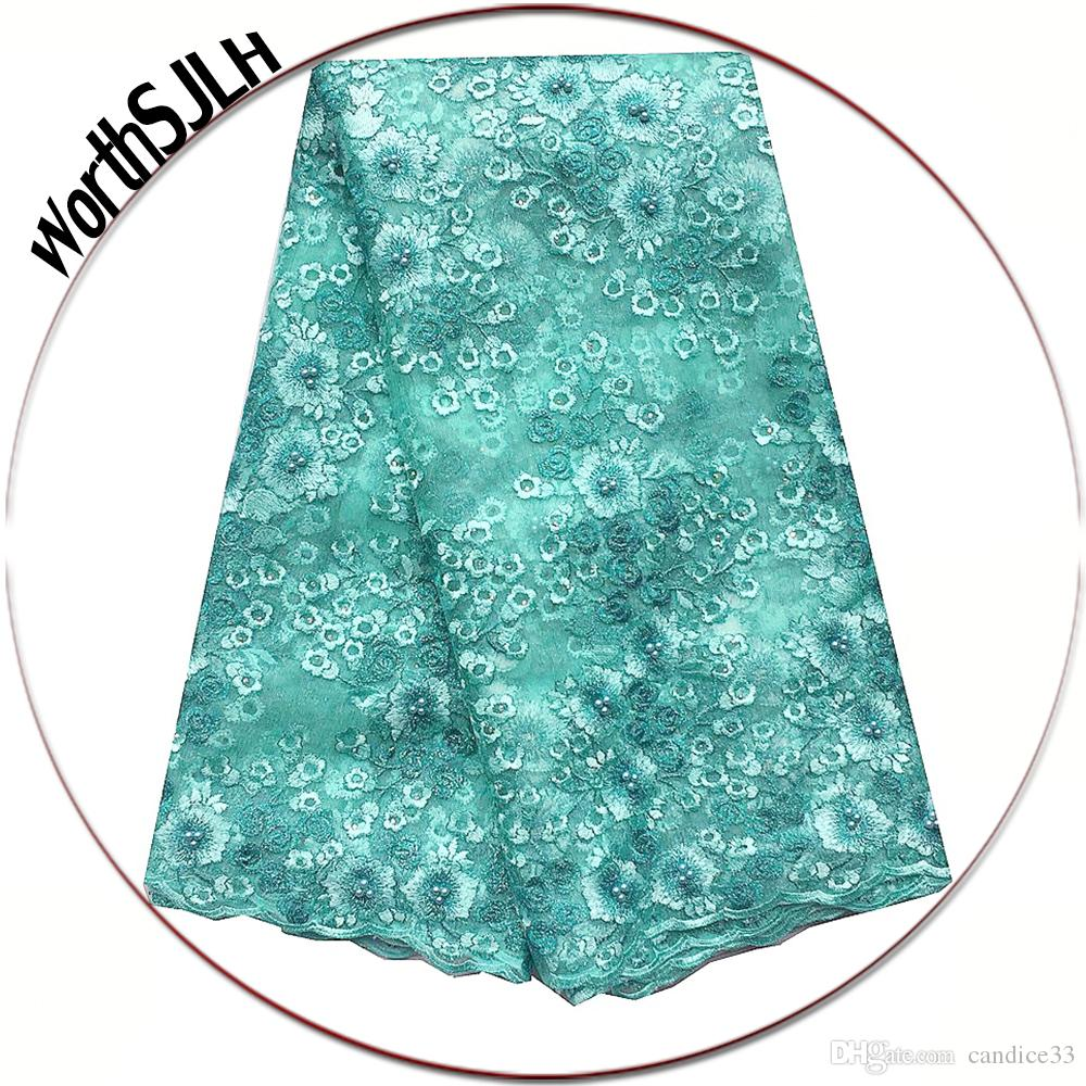Home 3d Nigerian Lace Fabric 2019 High Quality Latest African Laces Embroidered French Tulle Lace Fabric Beads Dubai Lace Fabric