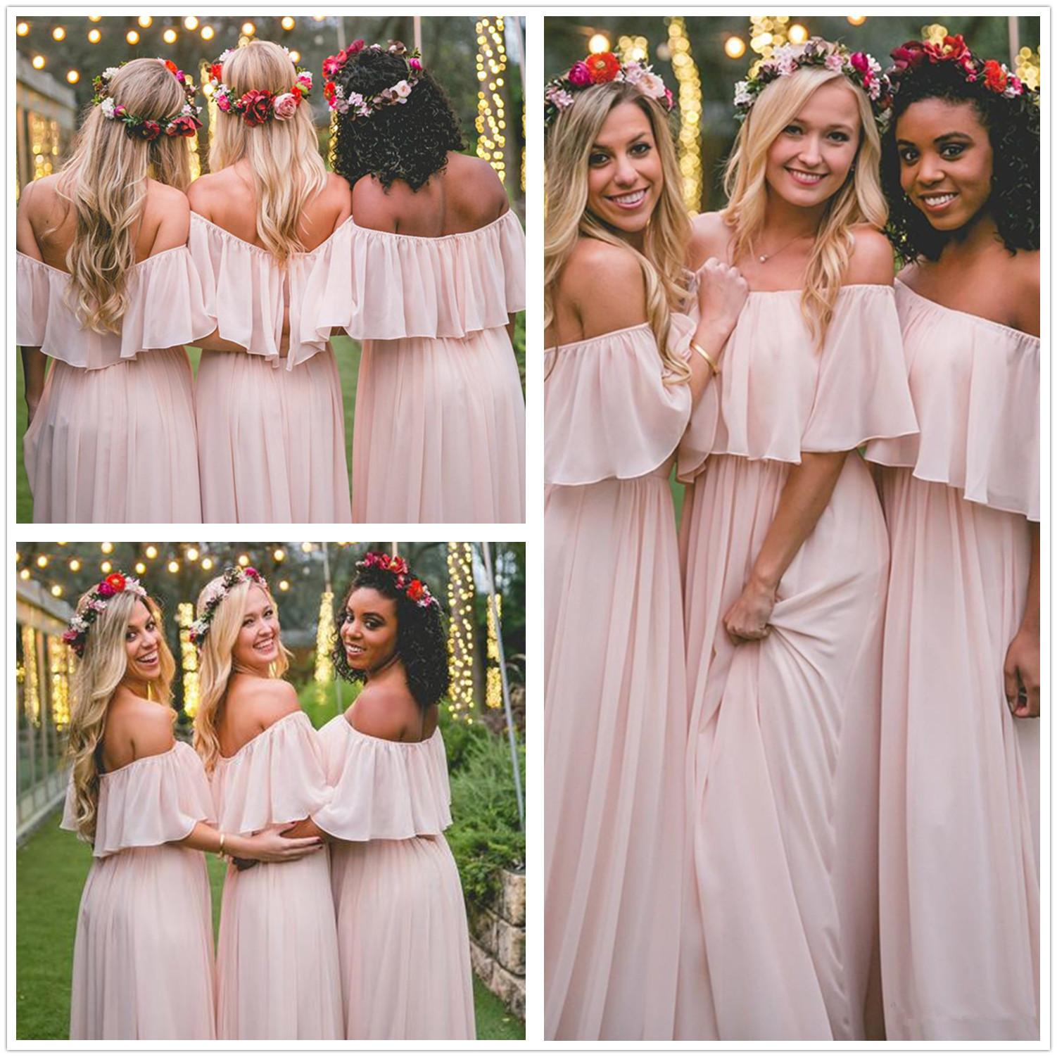 16881ee5fa8 Blush Pink Mumu Long Chiffon Bridesmaid Dresses Off Shoulder A Line Country  Ruffles Boho Maid Of Honors Wedding Guest Dresses Vintage Bridesmaids  Dresses ...