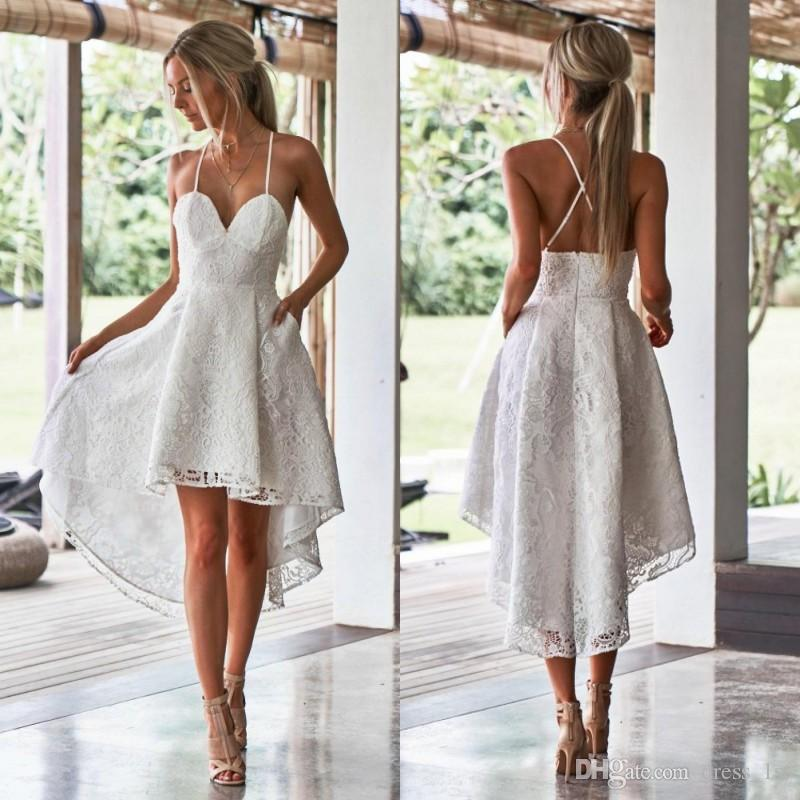 0cab4f886be Discount 2019 Sexy Short Beach Wedding Dresses Spaghetti Straps A Line Low  Cut Back High Low Ivory Lace Bridal Gowns Gowns On Sale Lace A Line Wedding  Dress ...