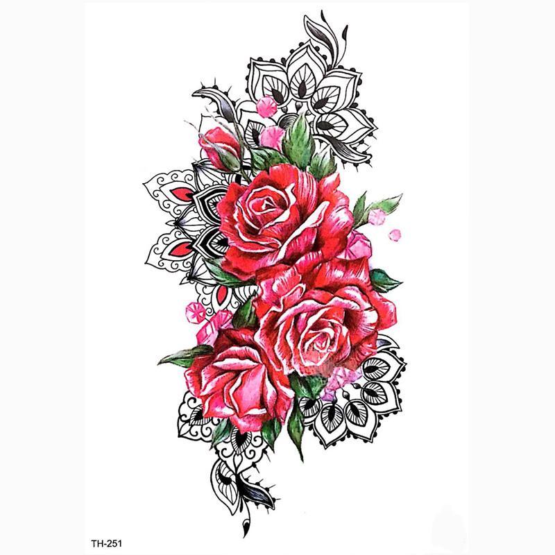 Tatuajes De Flores Mujeres Hombres Diy Henna Body Art Tattoo Design