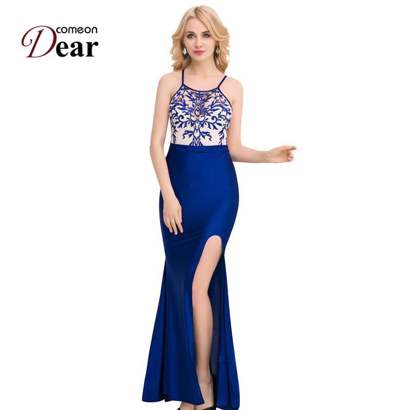 f5baaaf66f Comeondear Long Summer Dress Embroidery High Slit Maxi Dress Spaghetti  Strap Backless Woman Elegant Evening Coktail VJ1011 Short Long Dress Long  Short Dress ...