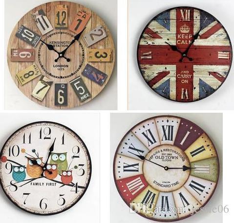 5d1528c7908 Compre De Madeira De Madeira Antigo Relógio De Parede De Agulha Rodada  Relógios Rústicos Quarto Casa Sala De Estar Decoração Chique Presente De  Jessie06