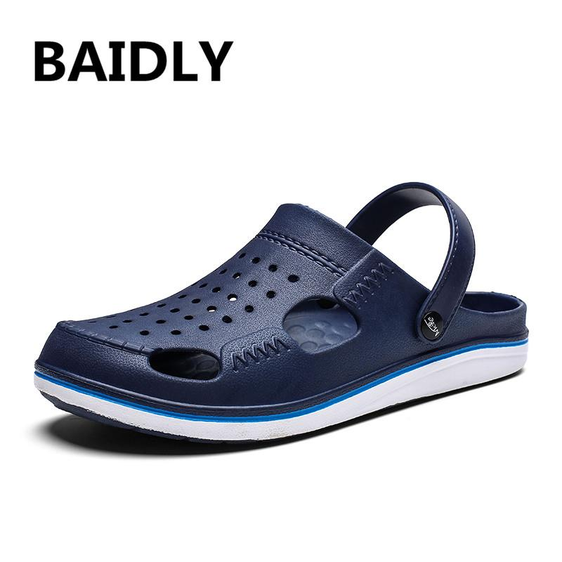 Men Sandals Summer Water Shoes Men Beach Slippers Hollow Anti-skid Thick-soled Breathable Sandals Outdoor Flip Flops Slippers
