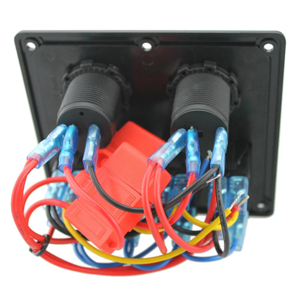 12V-24V 방수 4 갱 스위치 패널 주도 로커 스위치 패널 담배 라이터 소켓 듀얼 USB 포트 Voltmeter