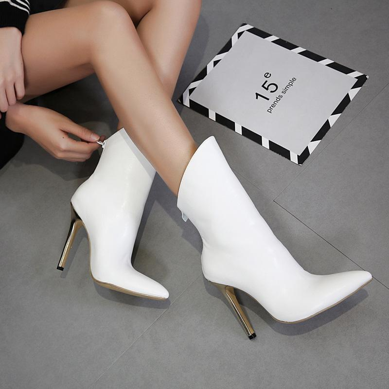 Women White Ankle Boots Sexy Pointed Toe 12cm Stiletto High Heels