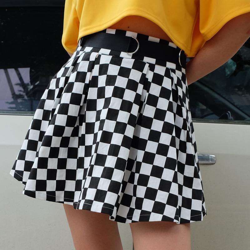 on sale 2e034 8ad97 Gonna a scacchi a pieghe Gonna a vita alta a quadri a vita alta Harajuku  Danza coreana stile sudore minigonne corte