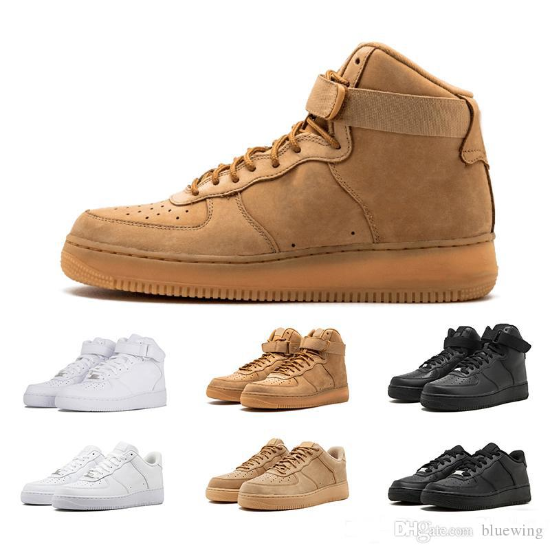premium selection 27da7 8ed97 Acquista Nike Air Force 1 AF1 Shoes Designer One 1 Dunk Mens Donne Flyline  Scarpe Da Corsa, Sport Skateboarding Scarpe High Low Cut Nero Bianco Scarpe  Da ...